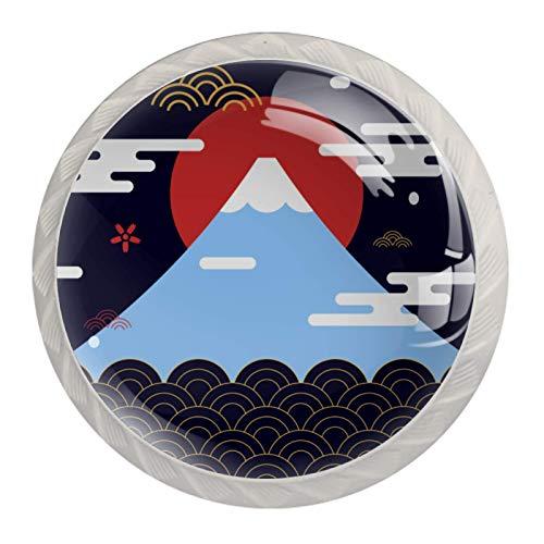 4 pomelli bianchi per armadietti da cucina, camera da letto, armadio, cassettiera, cassettiera, motivo giapponese Fuji Mountain Wave
