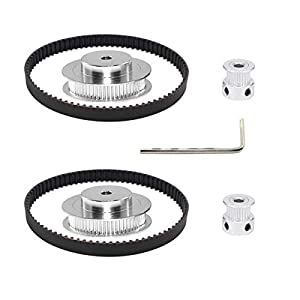 Befenybay 2Kit 2GT Synchronous Wheel 20&60 Teeth 5mm Bore Aluminum Timing Pulley with 2pcs Length 200mm Width 6mm Belt (20-60T-5B-6)
