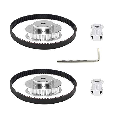Befenybay 2Kit 2GT Synchronrad 20 & 60 Zähne 5mm Bohrung Aluminium Zahnscheibe mit 2 Stück Länge 200mm Breite 6mm Riemen (20-60T-5B-6)
