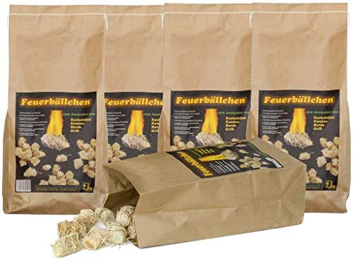 RaiffeisenWaren Encendedor de chimenea, bolas de fuego (ecológicos, de productos naturales, cera, madera natural; resistente a la humedad; combustión de 10 minutos) 12,5 kg
