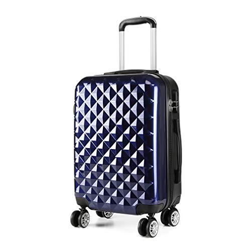 Kono 20' Hand Luggage Lightweight Hard Shell PC+ABS Suitcase 4 Spinner Wheels 360 Degree Rolling Cabin (Small, Navy)