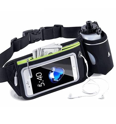 Nuobix Bolsa para correr para hombre y mujer, con cremallera ajustable, con puerto para auriculares y bolsa para taza de agua, apta para correr, viajes, bicicleta, senderismo, color negro