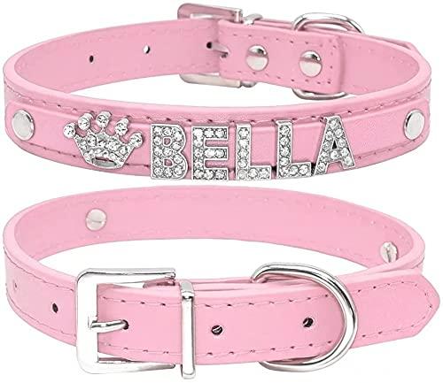 Collar de perro de Berry, de piel sintética, suave, letras y abalorios con cristales de imitación, para perros pequeños y medianos, personalizable rosado, XS(Neck 8-10.5')