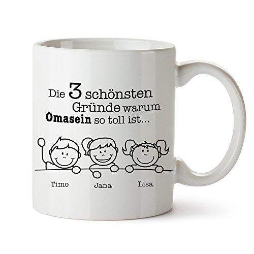 Casa Vivente Weiße Kaffeetasse – Gute Gründe Oma – Personalisiert mit Namen der Enkelkinder – Bedruckter Keramikbecher – Geschenke für Omas - Geschenkideen Geburtstag Weihnachten für Oma – Oma und Opa Geschenke