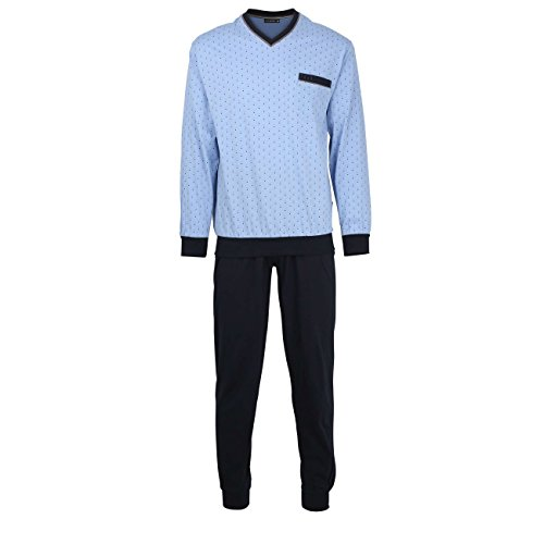 Götzburg Herren Nachtwäsche Zweiteiliger Schlafanzug, Pyjama lang, aus Baumwolle, Bedruckt, mit Bündchen 48