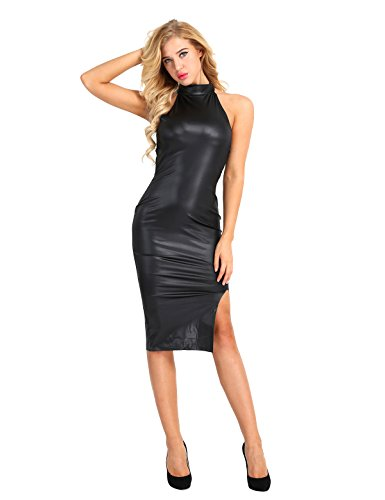 CHICTRY Midikleid Kleid * rückenfrei schwarz Lederoptik Wetlook Clubwear Damen Kleid Abendkleid Bodycon Schwarz Small