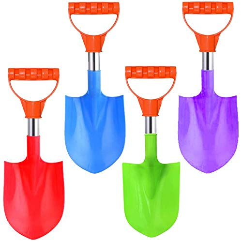 16-Inch Heavy Duty Stainless Steel Kids Mini Beach Diggers Sand Scoop Shovels with Plastic Spade and Handle for Summer Outdoors Party Bundle - 4 Pack