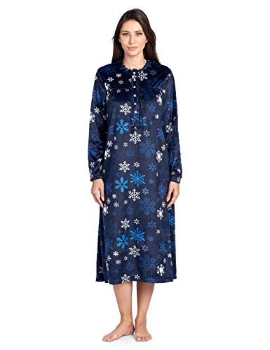 Ashford & Brooks Women's Mink Fleece Long Sleeve Nightgown - Navy Frozen Snowflake - 2X