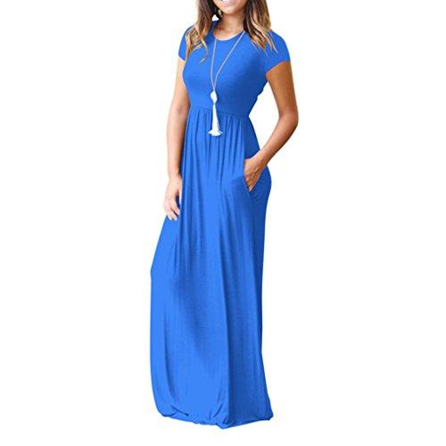 MRULIC Abendkleid Damen Langes Abendkleider Beiläufige Taschen Kurzschluss Hülsen Bodenlangen Kleid Lose Parteikleid Bankettrock