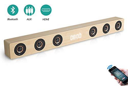 Speaker-EJOYDUTY 30W Hallo-FI Stereo HDMI Sound Bar für TV, Holz- Bluetooth Heimkino-Lautsprecher für PC/Laptop/Handy/Tablets,B
