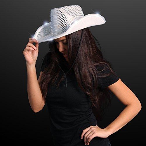 Silver Sequin Light Up LED Cowboy Hat