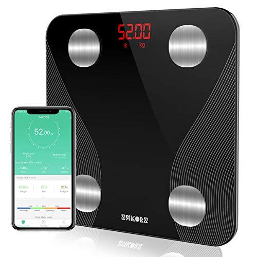 SAKOBS Waage mit Körperfett Personenwaage Testsieger Bluetooth Körperwaage für Fitness&Diät, Digitale Körperfettwaage mit App für Muskelmasse BMI Gewicht Protein Skelettmuskel BMR Wasser