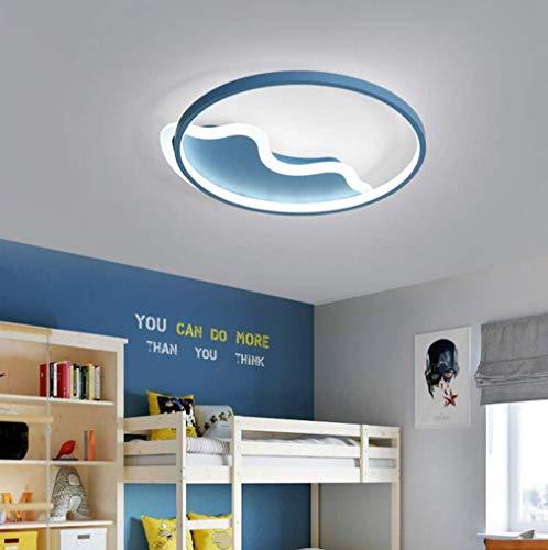 Led-plafondlamp, rond, voor slaapkamer, woonkamer, huis, keuken, persoonlijkheid, restaurant, licht, corpus van smeedijzer, warmwit licht, afmetingen: 45 x 6 cm, blauw