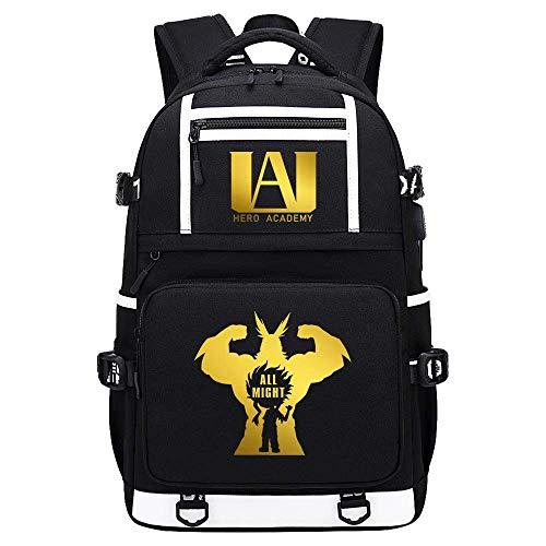 My Hero Academia Deku/Todoroki Shoto/bakugou Katsuki USB Men Backpack Cartoon School Bags Book Shoulder Laptop Knapsack Travel Gift-E,Colour Name:C qingqiao (Color : C)