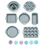 To encounter 31 Pieces Silicone Bakeware Set - 7 Silicone Baking Pans - 24 Silicone Muffin Donut Molds Non Stick Silicone Baking Molds with Metal Reinforced Frame More Strength,Light Gray with Green