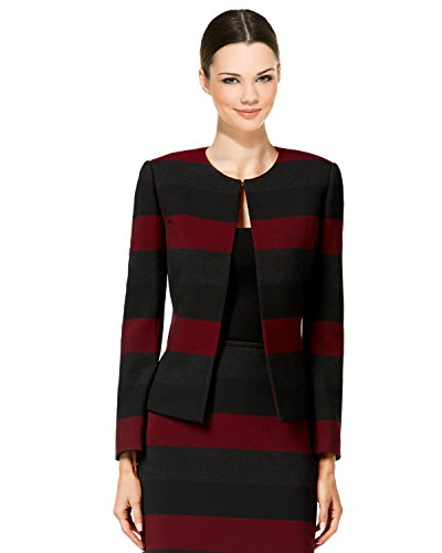 Tahari ASL Womens Petites Striped Long Sleeves Jacket Black 2P