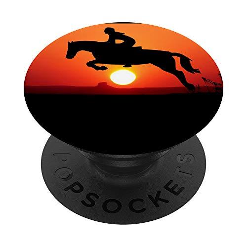 Pferd Pony Horse Hengst Reiten Reiter Tier Sonnenuntergang PopSockets PopGrip: Ausziehbarer Sockel und Griff für Handys/Tablets mit Tauschbarem Top