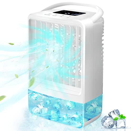 Enfriador de Aire, EEIEER 4000mAh 4-EN-1 Mini Aire Acondicionado Portatil USB Enfriador Aire acondicionado Móvil, Enfriador de Aire Humidificador Ventilador Purificador con 3 Velocidades 7 luc