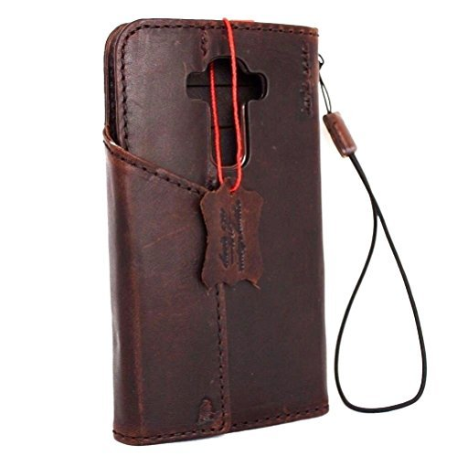 Price comparison product image Genuine Natural Leather Case for Lg G4 Book Wallet magnet Cover brown slim Handcraft thin Id Luxury DavisCase