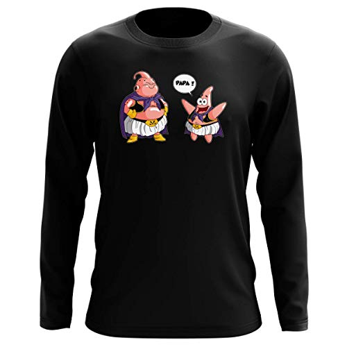 T-Shirt Manches Longues Noir Parodie Dragon Ball Z - Bob l'éponge - Majin BOU et Patrick - Papa !! (Tel père, tel Fils !) (T-Shirt de qualité Premium de Taille L - imprimé en France)