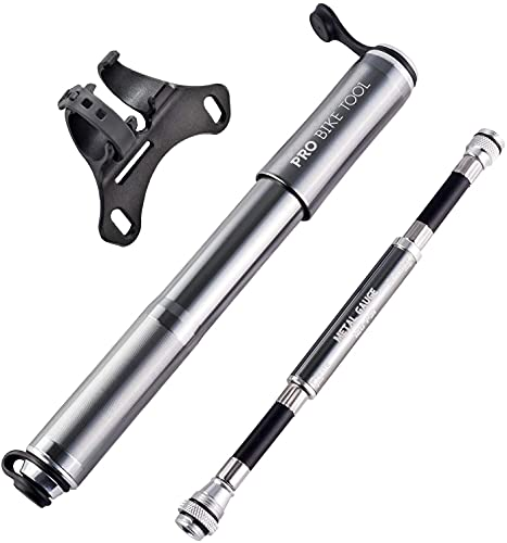 Mini Fahrradpumpe mit Manometer für Presta & Schrader Ventile- Hoher Druck bis 6,9 Bar - zuverlässig, kompakt & leichte Rahmenpumpe mit Druckmessgerät - Pumpe für Rennrad, Mountainbike (Titan)