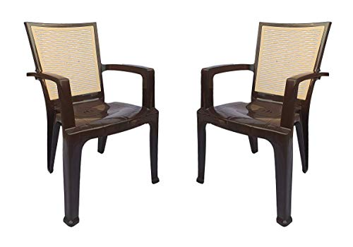 Nilkamal Plastic High Gloss Finish Chair (Brown and Biscuit) - Pack of 2