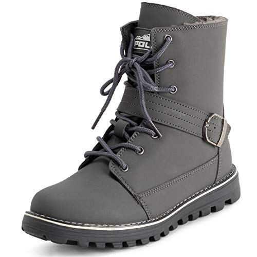 Polar Womens Memory Foam Biker Snow Boots Faux Fur Lined Welted Rubber Outsole Thermal Shoes - Grey - EU41/US10 - YC0646