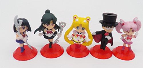 5 Sailor Moon Tuxedo Mask Chibi Moon Uranus Cute PVC Figure Set