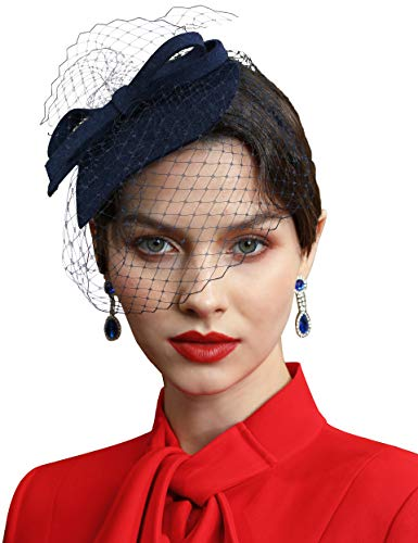 Coucoland Fascinators hoed met net dames elegant waterdruppelpatroon fascinator haarband voor bruiloft cocktail thee party derby haar hoofdaccessoires dames carnaval carnaval kostuum accessoires