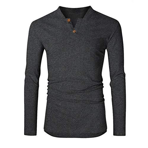 manadlian Chemise Homme T-Shirts à Manches Longues Chemisier Casual Blouse Col V Nouveau Style Haut Bureau Travail Mode Manteaux Lâches Tops Blouse