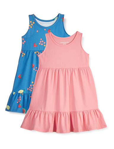 Amazon Essentials Paquete de 2 Vestidos de algodón para niñas Playwear-Dresses, Fruta de Verano, 3...