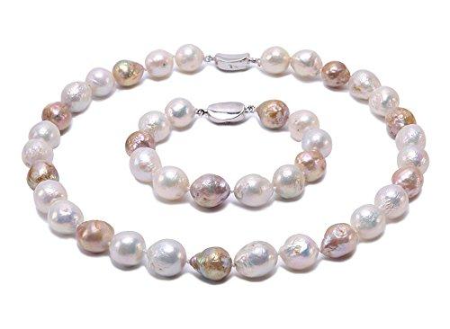 JYX Halsketten-Armband-Set, Süßwasser-Zuchtperlen, barock, 12-14 mm
