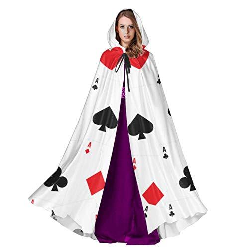 Yushg Naipes y Poker Cosplay Capa con Capucha Capa para Adultos 59 Pulgadas para Navidad Disfraces de Halloween Cosplay