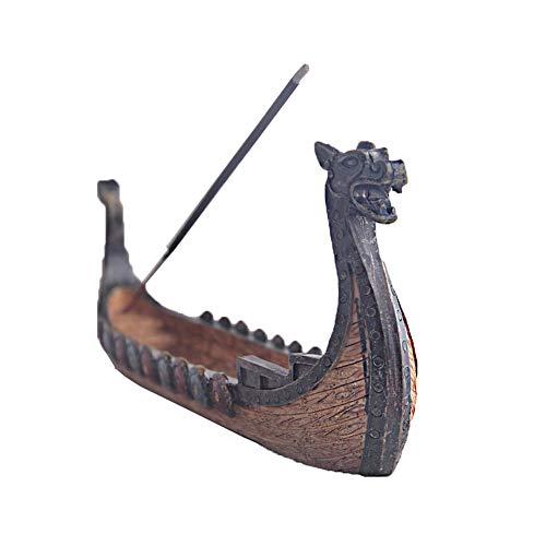 Asien Räucherstäbchen Burner Resin Viking Ships Haften Räucherstäbchenhalter Retro Schiffe Ornament Dekoration Handwerk 1Pc
