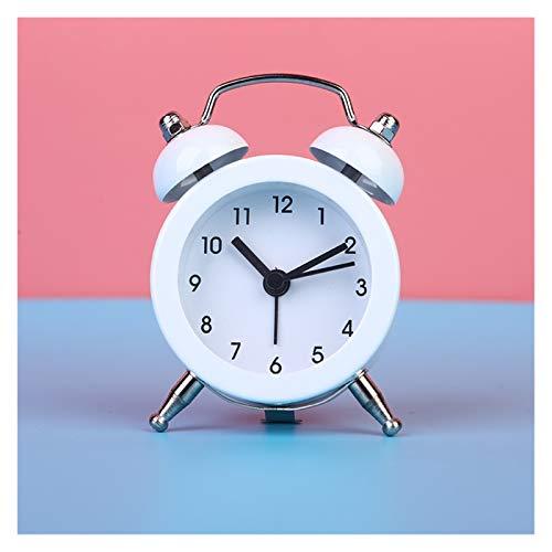 Xx101 Despertador 50 mm electronico pequeño Despertador Reloj Creativo Conejo Orejas Lindo Mini Metal pequeño Despertador Reloj (Color : A)