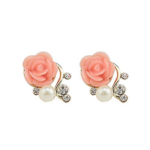 JUNGEN Blumen Ohrringe Vergoldet Ohrstecker Damen Perlen Ohrschmuck