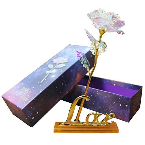 Wisolt 24K Lámina de Oro para Siempre Rosa con Soporte de exhibición y Caja de Regalo, niña, Esposa, mamá, cumpleaños, día de San Valentín, día de la Madre