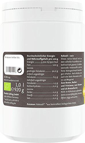 Ölmühle Solling Kokosöl nativ im PE-Becher, 1er Pack (1 x 1 l) – Bio - 5