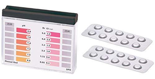 POWERHAUS24 Wassertester, Pooltester fÙr pH-Wert und freies Chlor mit 20 Tabletten