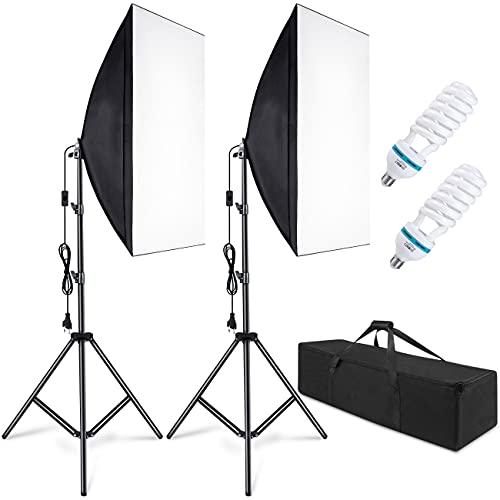 Softbox Kit Iluminacion Fotografia con 2 Softbox 50x70cm, 2 Bombilla de Luz 800W, 2 Tripodes, 1 Bolsa de Transporte, Luz Continua para Estudio Fotográfico Profesional