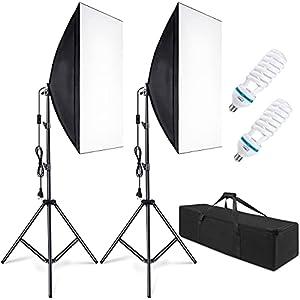 Juego de iluminación Softbox (2 Unidades, 50 x 70 cm, lámpara de Estudio fotográfico, iluminación fotográfica, con trípode de 85 W, Bolsa de Transporte, Capacidad de Carga: 3 kg)
