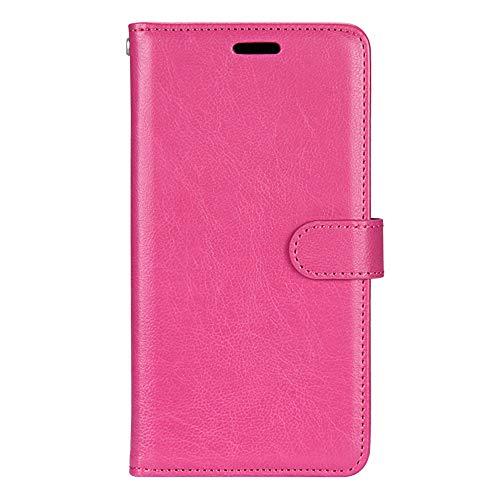 KAISENSHUO Funda para Huawei P9 Lite,tre Slot per schede Pelle PU e TPU Silicone con Funzione Supporto Chiusura Magnetica per Huawei P9 Lite (Rosa Roja)
