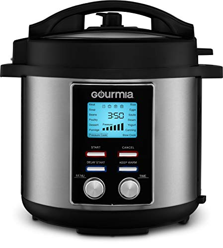 Gourmia GPC655 6 Qt Digital SmartPot Multi-Function Pressure Cooker - 15 Cook Modes - Removable Nonstick Pot - 24-Hour Delay Timer - Automatic Keep Warm - LCD Display - Pressure Sensor Lid Lock