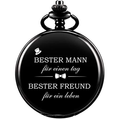 Taschenuhr - ManChDa Bester Mann Gravierte Taschenuhr Quarz Fobwatch - Bräutigam Geschenke Für Die Hochzeit Gravierte Best Man Pocket Watch Hochzeitsgeschenk Schwarz