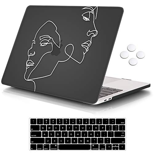 iCasso MacBook Pro 13 inch Case 2019 2018 2017 2016 Release A2159/A1989/A1706/A1708, Plastic Hard Shell Case with 5 Rows Keyboard Cover Compatible Newest MacBook Pro 13' - Face Sketch