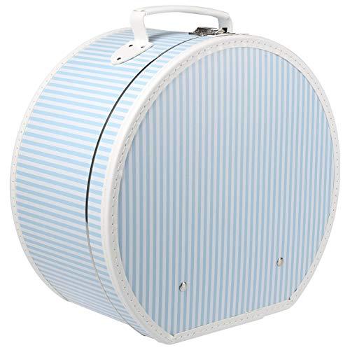 Lierys Hutkoffer Stripes - Maße: ca. 40 cm x 20 cm - Große Hutschachtel mit Kunstleder - Hutbox zur Aufbewahrung mit Tragegriff - Koffer für Hüte - Deko für Wohnung hellblau