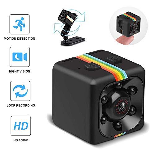 SQ11 Mini-Kamera, 1080P Mini-Kamera HD-Camcorder-Spionagekamera, Mini-Spionagekamera Geheime Kamera für Heim-, Auto-, Drohnen- und Büro-LED-Nachtsichtschleifen-Recorde-Kamera