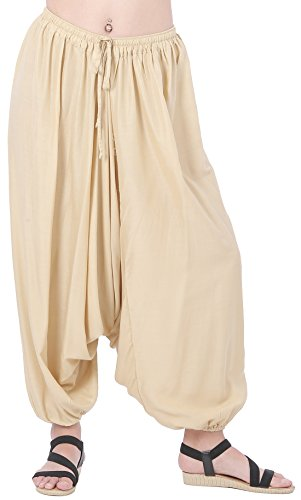 CandyHusky Men Women Baggy Hippie Boho Gypsy Yoga Harem Pants Aladdin Costumes (Beige)