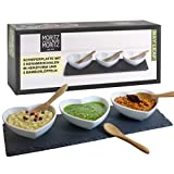 Moritz & Moritz Serving Platters Set Heart Shape - Slate Tray with Ceramic Bowls and Spoons - for Dips Snacks and Starters