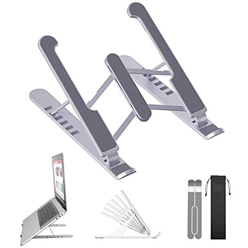 Ventilated Laptop Computer Stand,Compatible with 10'' to 16'' Adjustable laptop stand,Portable Foldable Laptop Tablet Stand with 6 Angles Height adjustments,Non-slip Laptop Stand (White)